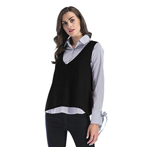 NiSeng Damen Strick Pullunder Ärmellos Lang Weste V-Ausschnitt Sweater Pullover Casual Sweatshirt Ärmellos Schwarz M