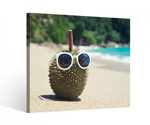 Leinwandbild 1Tlg Durian Meer Strand lustig Brille Urlaub Leinwand Leinwandbilder Bild Bilder Holz gerahmt 9V652, BxH Format:40x40cm