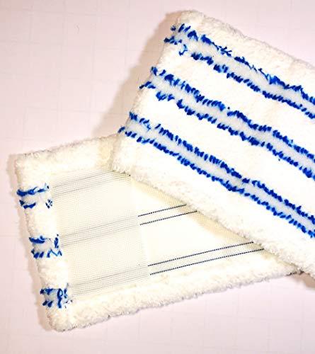 2x Bodenwischer Bezüge Microfasermöppe für Haushalt und Gewerbe passend für handelsübliche Wischersysteme von 39 bis 44cm Wischbezughalterbreite Wischmop mit Abrasivstreifen Taschenbezüge (2)