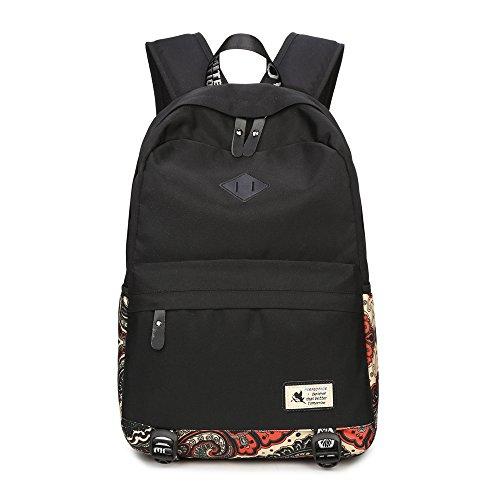 Mädchen Jugendliche Schultasche Fashion Casual Vintage Rucksack Unisex Wasserdicht EXTRA Groß Schulrucksack Reisetasche für 15.6 Zoll Laptop Schwarz