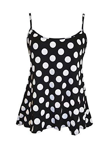 Friendz Trendz-Womens Plus Size Multi Print Riemchen Cami Schwingen Crop Top DOT BLACK