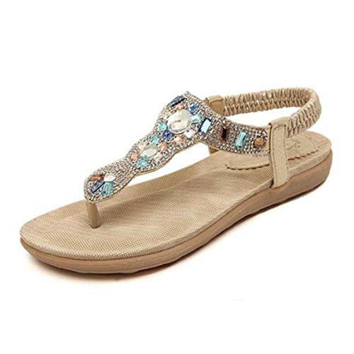 Strap Damen,Schuhe Shoes Schuh Böhmen Sommerschuhe Sandaletten Frauen Sommer Offene Flach Badesandalette Zehentrenner Elegante Strandschuhe Badesandalette (40, Gold) ()