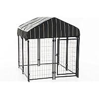 Exterior de hundezwinger con techo de Lucky Dog Resort de Zwinger con techo, contiene Dekoratives wetterfestes techo, Componentes de acero de alta calidad y un marco pulverbeschichteten (L 120x B 120x h 132cm)