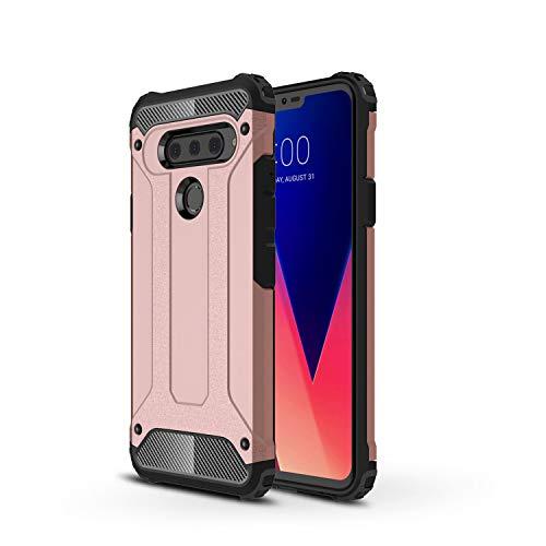 TANYO Funda Adecuado para LG G8 ThinQ, Heavy-Duty Anti-Caída Phone Case, Extraíble 2 en 1 a Prueba de Golpes Robusto y Durable Fashion Ultra-Thin Funda Protectora, Oro Rosa