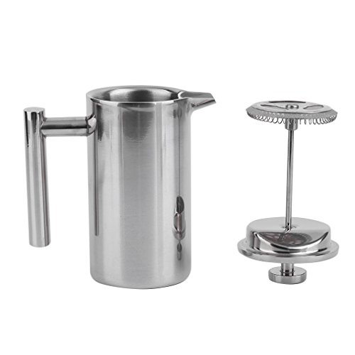 NICEAO 1000ML Edelstahl Doppelschicht Kaffeebereiter, Kaffeekanne, Teekanne mit Edelstahlfilter, Große Kapazität, für Kaffee und Tee