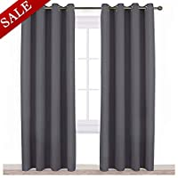 NICETOWN Blackout Curtains Panels for Bedroom - Three Pass Microfiber Noise Reducing Thermal Insulated Solid Ring Top Blackout Window Drapes (2 Panels, 132 x 213 cm, Gray)