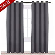 NICETOWN Blackout Curtains Panels for Bedroom - Three Pass Microfiber Noise Reducing Thermal Insulated Solid Ring Top Blacko
