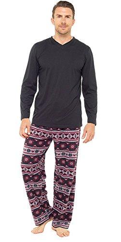 Mens Warm Jersey Oberteil & Vlies-böden Pyjama nachtwäsche pajama lounge wear Schwarz/Rot