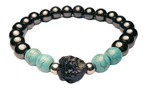 EDELSTEIN Armband - Hämatit mit Türkis und Meteorit/Tektit Stein - Yoga Esoterik Spiritualität Astrologie Meditation Energie - Nepal Gold Armbänder