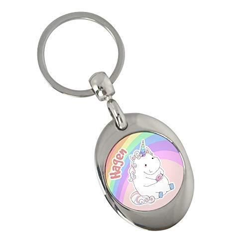 Schlüsselanhänger mit Namen Hagen und Einhorn-Motiv in Pastell-Farben | Namens-Anhänger mit Einkaufs-Chip für Kinder und Erwachsene