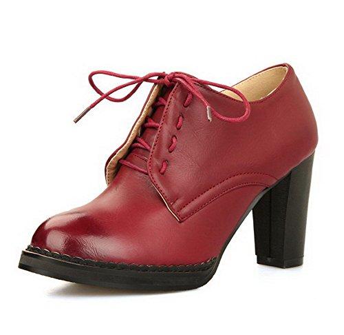 VogueZone009 Femme Rond Lacet Pu Cuir Couleur Unie à Talon Haut Chaussures Légeres Rouge Vineux