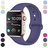 Hamile Armband Kompatibel für Apple Watch 38mm 40mm, Weiche Silikon Wasserdicht Ersatz Uhrenarmbänder für Apple Watch Series 5, Series 4, Series 3, Series 2, Series 1, M/L Blau Grau