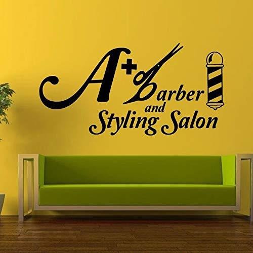 yaoxingfu Styling Salon Logo Zeichen Wandaufkleber Für Barbershop Hintergrund Tapete Vinyl Aufkleber Wohnzimmer Kunst Dekor Aufkleber schwarz 114X57 cm