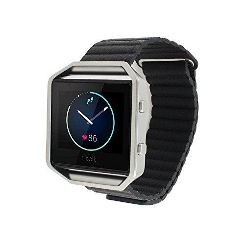 Fitbit Blaze Uhrenarmband, FOTOWELT Fitbit Blaze Echtes Leder Uhrenarmband Armband Wristband mit Magnetverschlussriemen Ersatzband für Fitbit Blaze Uhr - Schwarz
