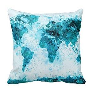Dennis tienda ttt93(*) mapa del mundo pintura salpicaduras azul = cojín manta decorativa Funda de almohada Funda de almohada 18x 18pulgadas