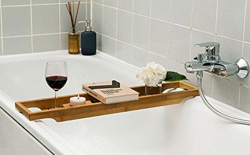 Bonito Bandeja de baño, Bañera, accesorio para bañera, Bañera de bambú 70 cm x 16 cm
