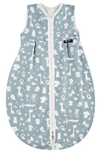 Alvi Schlafsack Baby Mäxchen light I leichter Kinder-Schlafsack ärmellos I Sommerschlafsack Jungen und Mädchen I 100% Baumwolle I ÖKO Tex geprüft, Größe:80, Design:Zootiere puderblau