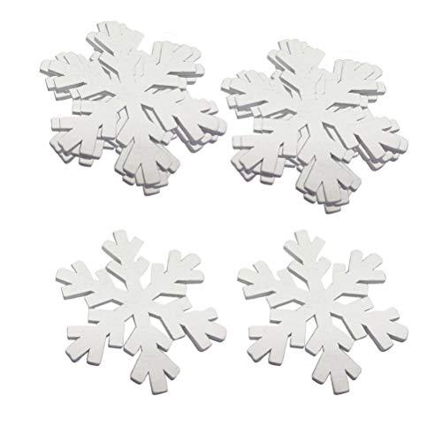 STOBOK 60 stücke Holz Weihnachtsschmuck Schneeflocke Weihnachtsbaum Hängen Dekorationen Rustikale Ornamente für DIY Handwerk Urlaub Party Ornamente (Weiß)
