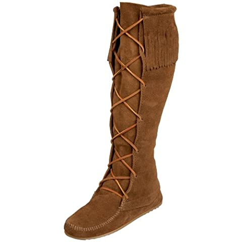 Minnetonka Front Lace Hardsole Knee Hi, Women Mocassins Boots, Brown (Dusty Brown), 7 UK (40 EU)
