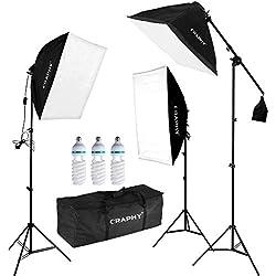 Kit Éclairage Photo Studio, Softbox Kit 3x135w avec 3 Ampoules 135W, 3 softbox, 3x2m Trépied, 1 Sac pour Ampoule et 1 Sac de Transport Tous Le kit softbox