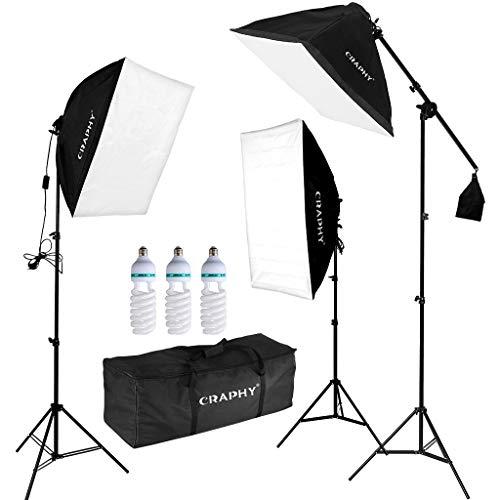 """CRAPHY Softbox Kit Studio Kit Illuminazione Continuo con Lampadine da 3x135W 5500K, 20""""x 25"""" Softbox, Stativo Luci per Fotografia per Prodotti e Ripresa di Video"""