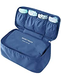 Travel Kit Bra Underwear Folding Organizer With Insert Cosmetic Storage Pouch Bag For Holding Cosmetics Deep Blue
