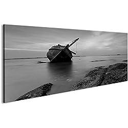 Cuadro Cuadros La nave destruida en blanco y negro, Tailandia Impresión sobre lienzo - Formato Grande - Cuadros modernos DKY