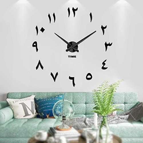 Vangold Arabische Moderne Mute DIY große Wanduhr 3D Aufkleber Home Office Decor Geschenk - 2 Jahre Garantie (Schwarz)