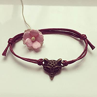 Bracelet Renard en Rouge Bordeaux Bronze Ajustable, vintage / ethno / hippie / must-have / statement / bijoux florabella