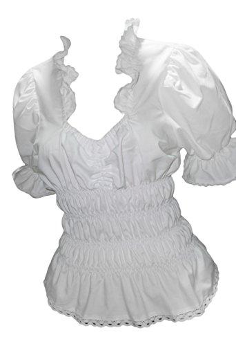 Blusen Damen Trachtenblusen Tuniken Uni Weiß Baumwolle Festlich Freizeit Business (42)
