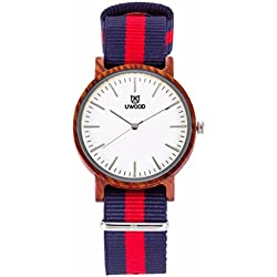 Uwood Men's Nylon Strap Watch Unique Analog Quartz Waterproof Business Casual Wrist Watch with Blue Red Striped Canvas Band Wonderful Christmas Gift
