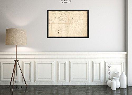 Bank New York (1813 Map Nantucket Nantucket Schuhe, eine Neue Chart von Nantucket Shoals & George's Bank mit dem ADJ 'Historischen Antik Vintage' Nachdruck, fertig zum Rahmen.)