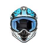 Kinderhelm Motorradhelm Kinder Motorradhelm - Kinder Motocross Motorrad Motorrad Roller MX Helm Off Road Racing Junior Kinder Full Face Helm - 4 verschiedene Farbe - Blau XS (47-48 cm)