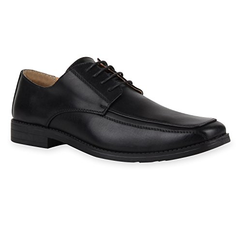 Klassische Herren Halbschuhe | Business Schuhe Schnürer | Schnürschuhe Leder-Optik | Basic Look Schwarz Glatt