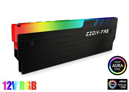 EZDIY-FAB 12V RGB Speicher RAM Kühler DDR Kühlkörper für DIY PC Spiel Overclocking MOD DDR3 DDR4 (kompatibel mit ASUS Aura Sync, MSI Mystic Light Sync, ASRock Polychrome) - Schwarz-1pack -