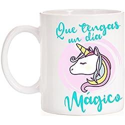 """Taza Unicornio """" Que tengas un día mágico """". Taza regalo cumpleaños o felicitación."""