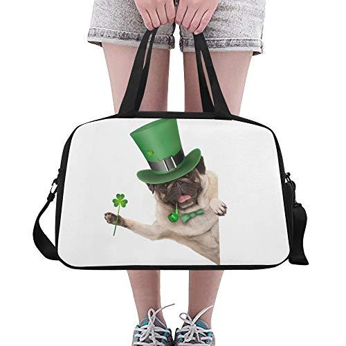 Reopx Green Hat Dog Puppy Große Yoga Gym Totes Fitness Handtaschen Reisetaschen Schultergurt Schuhtasche Für Sportgepäck Für Mädchen Männer Frauen Outdoor