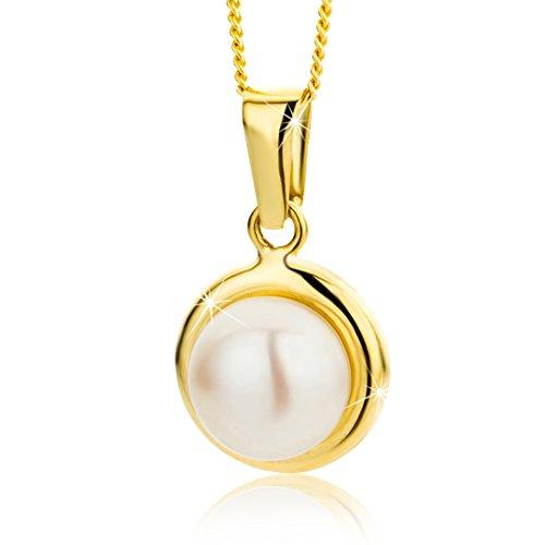 Orovi Damen Halskette mit Perlen Anhanger 9 Karat (375) GelbGold Gold Kette