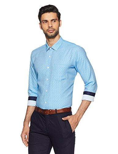 Symbol Amazon Brand Men's Slim Fit Formal Shirt (AW17MFS112_40_Blue)