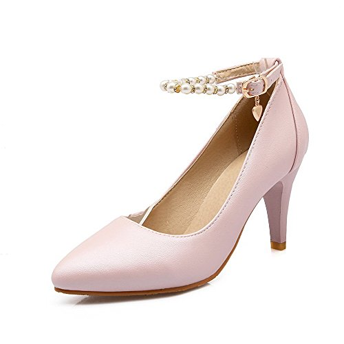 AllhqFashion Damen Pu Leder Rein Schnalle Spitz Zehe Stiletto Pumps Schuhe Pink