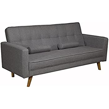 Marvelous Boston Modern Fabric Upholstered 3 Seater Sofa Bed Charcoal Or Light Grey  By Sleep Design (
