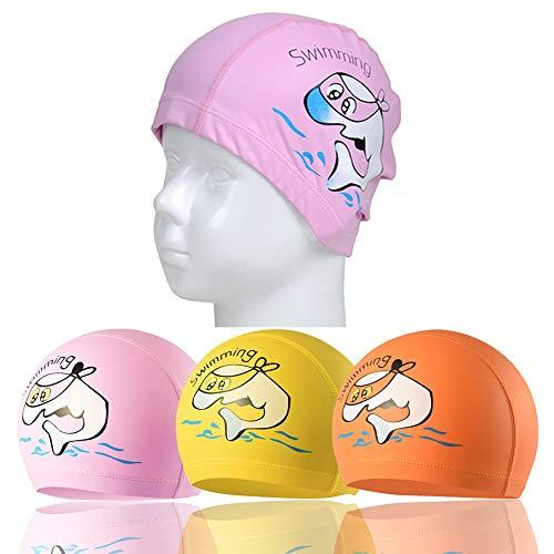 RETON Wasserdichte Kinder Badekappe Atmungsaktive Ohr Wrap Schutz Kinder Schwimmen Hut mit PU Beschichtung Cartoon-Muster (Rosa+Gelb+Orange)