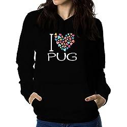 Sudadera con capucha de mujer I love Pug colorful hearts