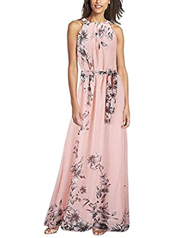 Yidarton Women's Sexy Foral Sleeveless Summer Beach Long Maxi Dresses(Pink,M)