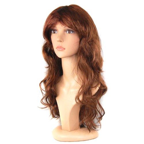 TRIXES Perücke für Damen lang lockig Kostüm Perücken glatt Verkleidung Damenperücke lustige Party) (Langes Lockiges Haar Kostüme)
