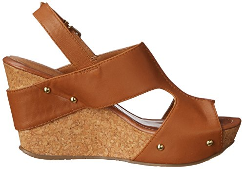 Kenneth Cole Reaction Sole-O Femmes Cuir Sandales Compensés Toffee Caramel