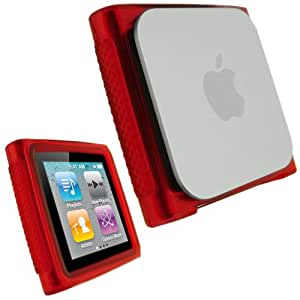 igadgitz Kristall Gel (TPU thermoplastisches Polyurethane) dauerhafte Schutzhülle Etui Case Hülle Tasche Sleeve in Rot für Apple iPod Nano 6G 6. Gen Generation 8gb & 16gb + Display Schutzfolie