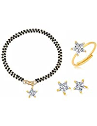 Archi Collection Jewellery Combo Of American Diamond Mangalsutra Bracelet Mangalsutra, Earrings, And Ring For...