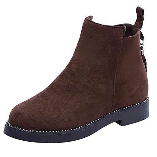 S&H-NEEDRA Frauen Round Toe Schuhe Quaste Booties Reißverschluss Wildleder Einfarbig Schuhe Stiefel