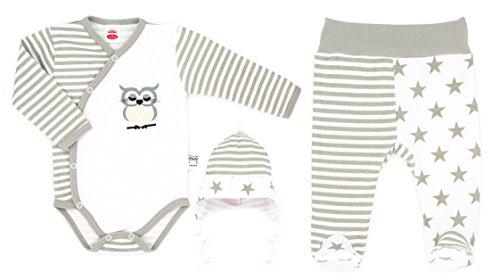 MAKOMA Baby Mädchen und Jungen Unisex 3 tlg. Set aus Wickelbody Babyhose und Mütze -134 Eule gestreift- (56)